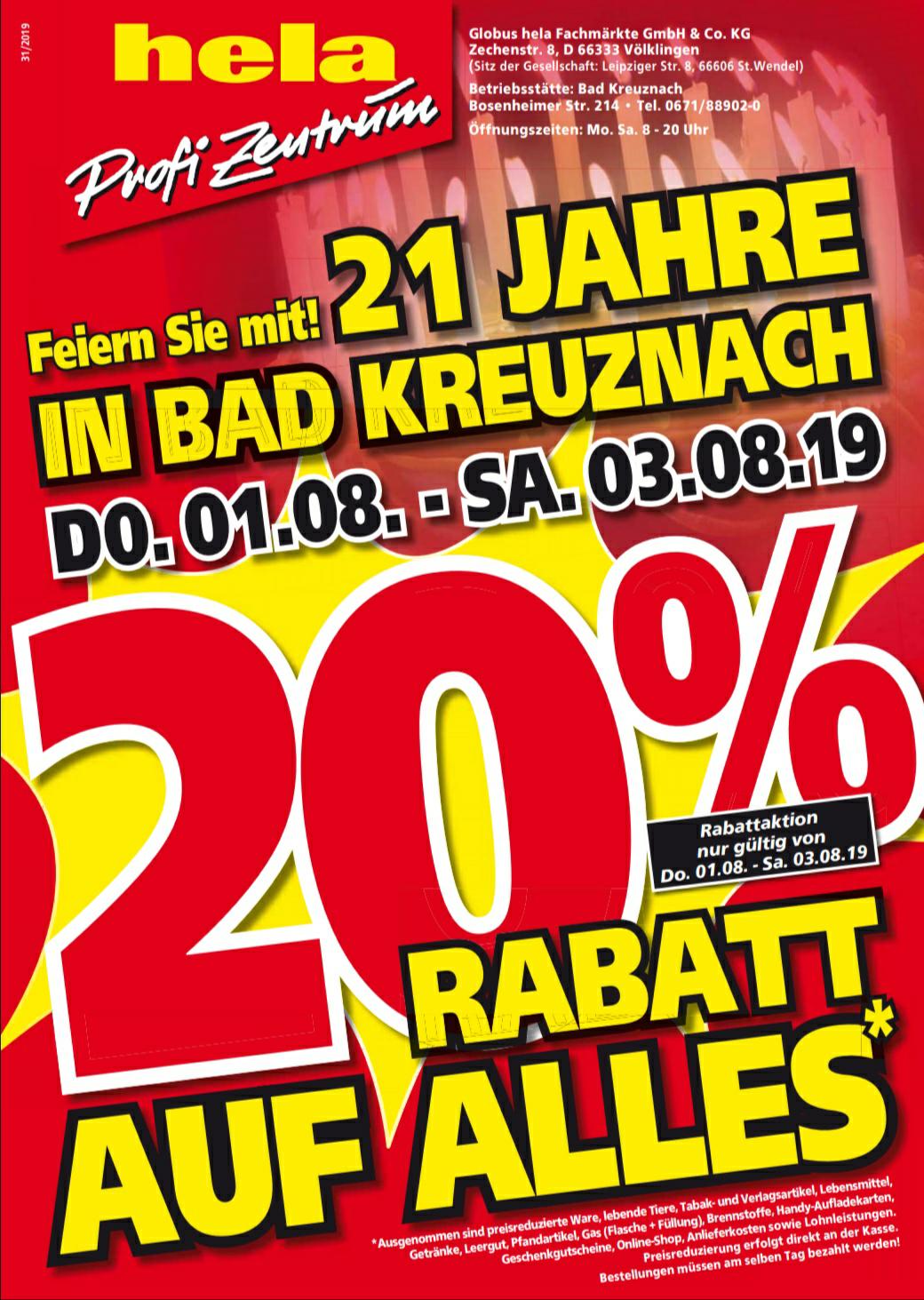 [Hela Baumarkt Bad Kreuznach] 20% vom 1.08-3.08. Tiefpreisgarantie für vieles möglich - z.B. Kärcher S650 Kehrmaschine