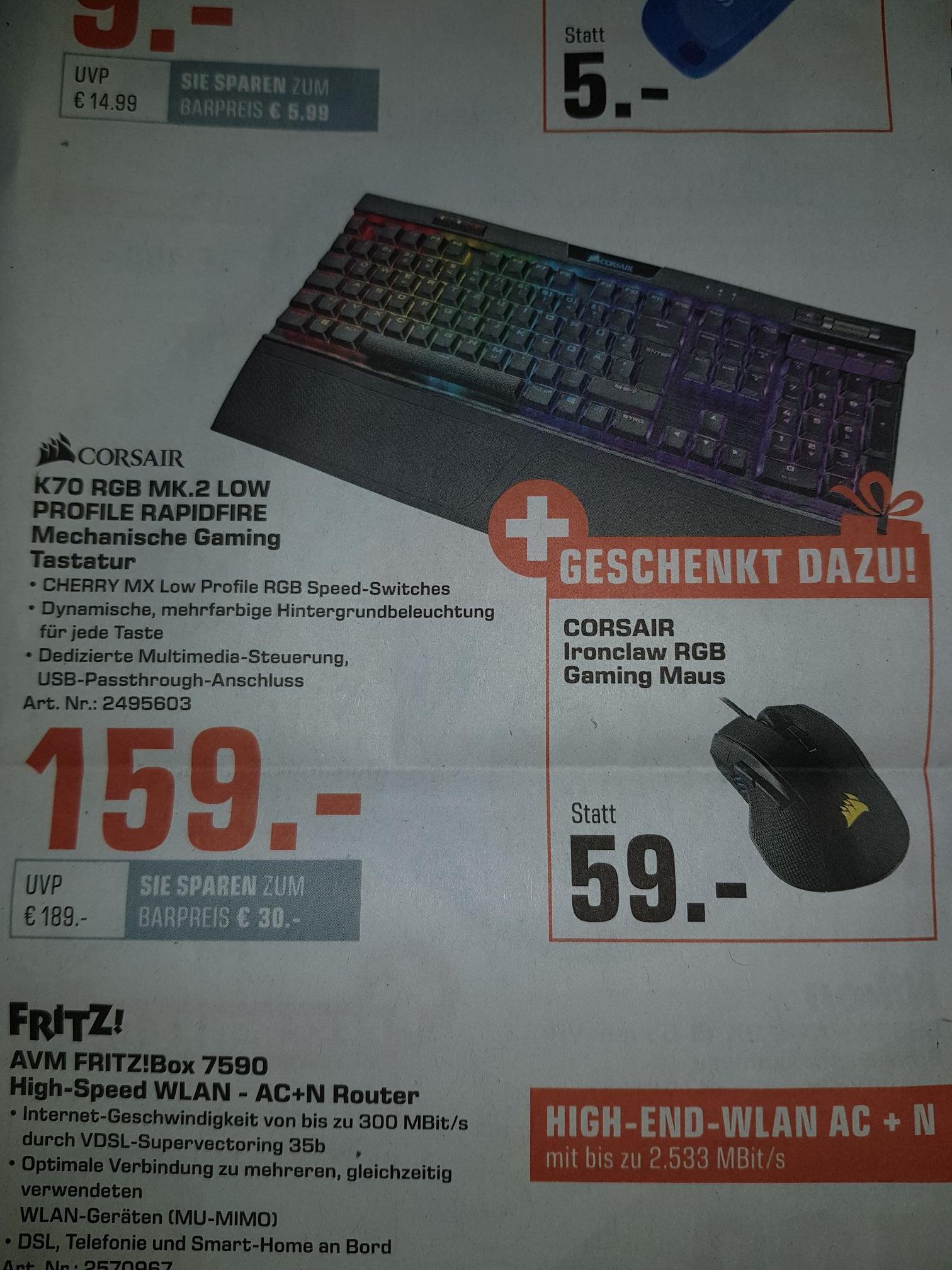 CORSAIR K70 RGB MK.2 LOW PROFILE RAPIDFIRE, Gaming Keyboard, Mechanisch + CORSAIR IRONCLAW Gaming Maus, kabelgebunden, Schwarz,
