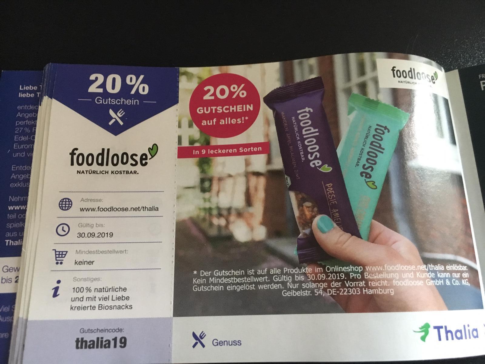 20% auf foodloose - kein Mindestbestellwert