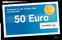 50€ Vattenfallonlineshop Gutschein ohne MBW