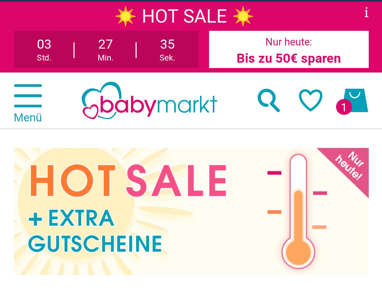 [babymarkt] Rabatte am Abend (10€ ab 80€ bis 50€ ab 400€ Einkaufswert)