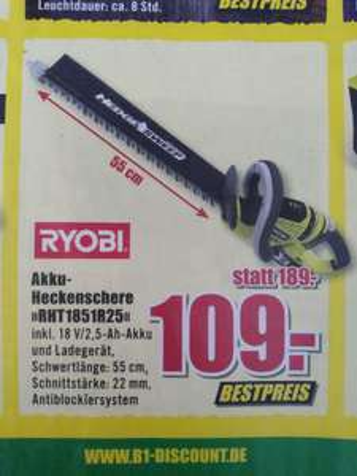 RYOBI Akku Heckenschere RHT1851R25 bei B1 (offline)