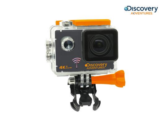 Discovery Adventures 4K-Action-Cam (UHD, WLAN, 12 MP, 60 g, 2 Zoll LCD-Bildschirm, Inkl. Halterung + wasserdichtes Gehäuse) [iBOOD]