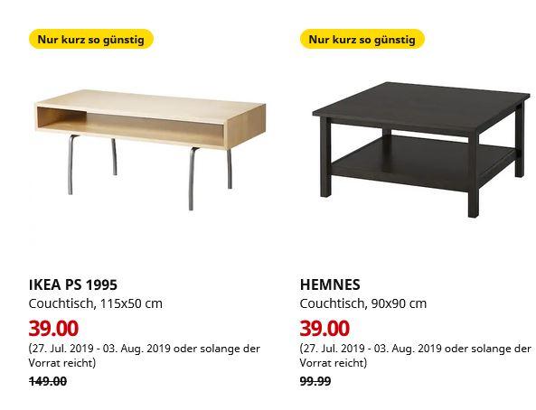 (IKEA Brinkum) IKEA PS 1995 Couchtisch Birke weiß 115x50 cm /  HEMNES Couchtisch schwarzbraun 90x90 cm je 39€