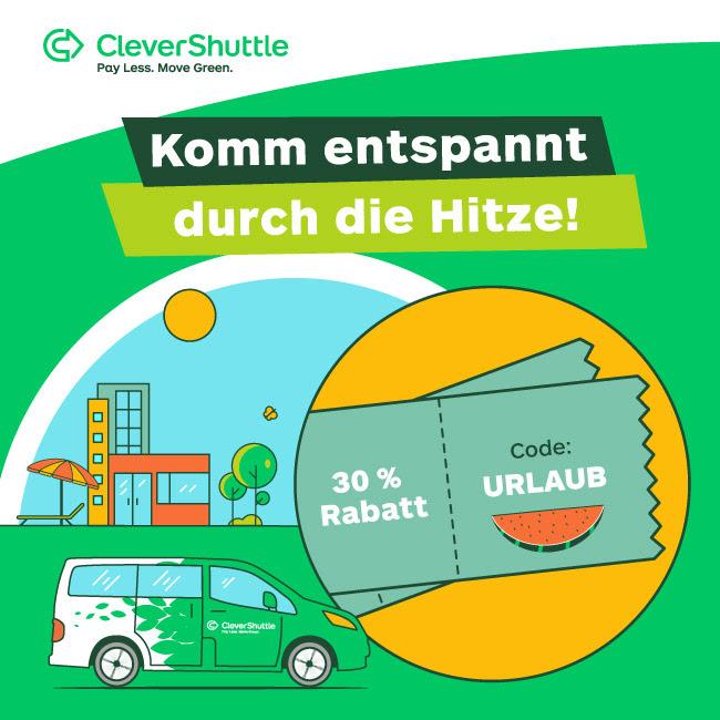 Clevershuttle 30% Rabatt