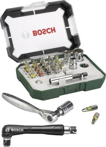 27-teiliges Bosch Promoline Bit-Set (diverse Bits, 4 Stecknüsse, magnetische Bithalter, Adapter, Ratsche, Winkelschraubendreher)