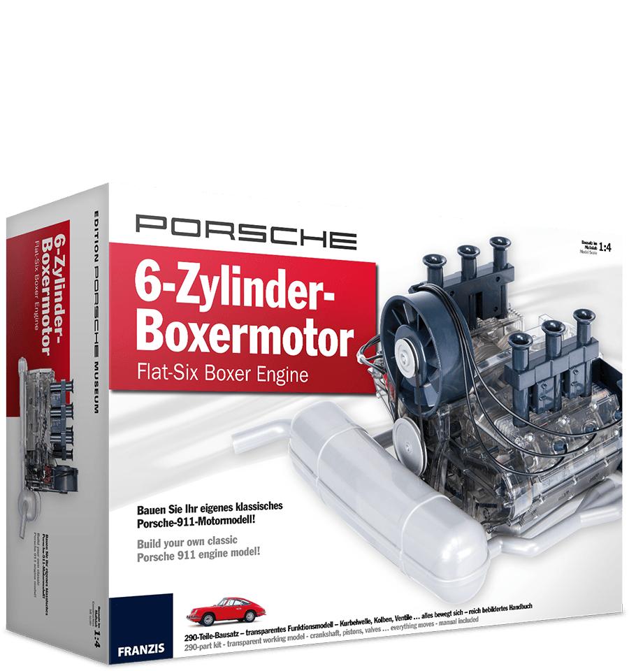 Franzis Porsche-Bausatz: 6-Zylinder-Boxermotor (290 Bauteile, Soundmodul mit Boxer-Sound, Handbuch)