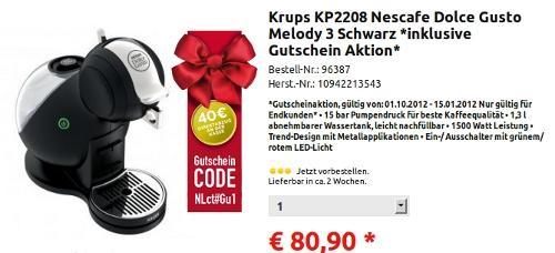 Dolce Gusto Melody 3 (KP2208 , Schwarz) für 40,90 Euro
