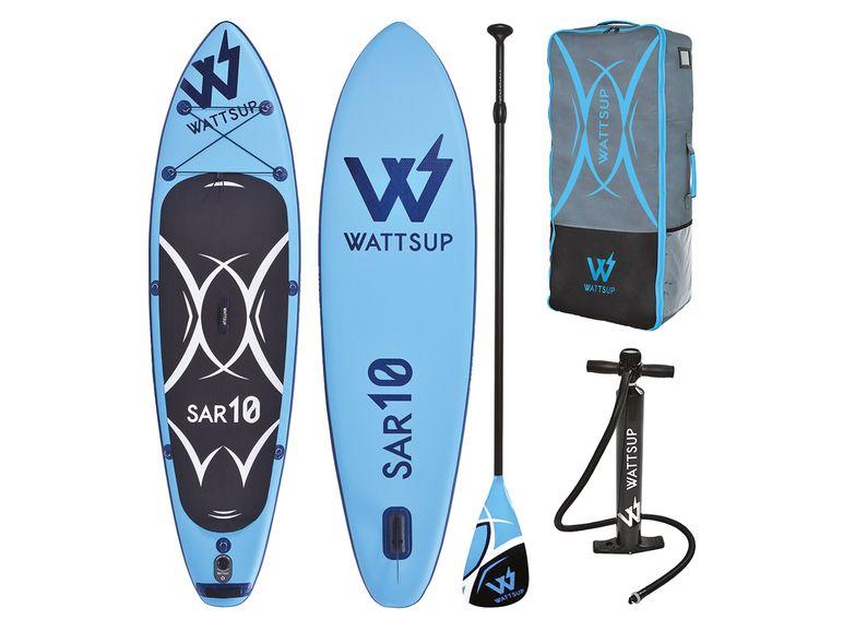 SUP-Board Wattsup SAR 10 (bis 125kg, 305x81x15cm, längenverstellbares Alu-Paddel, Hochdruck-Luftpumpe, Transportrucksack, 8.2kg)