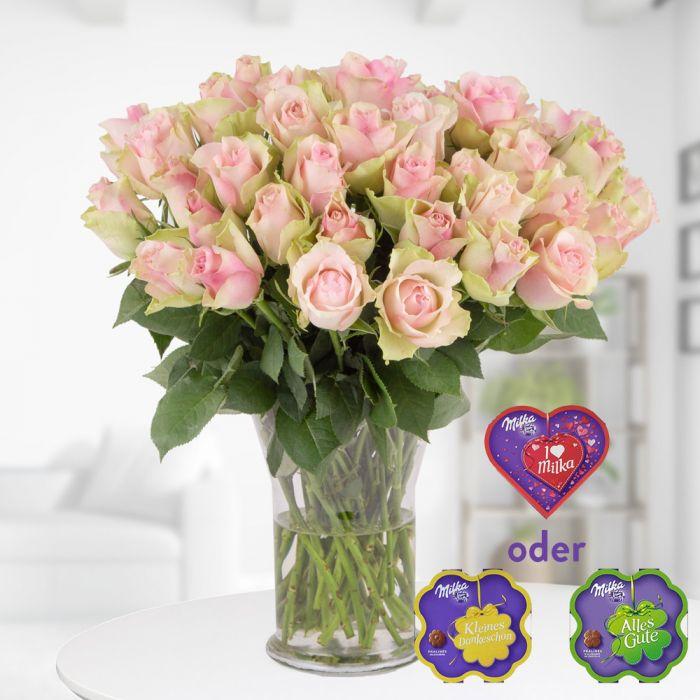 40 rosafarbene Rosen (40cm Stiellänge) mit Milka und inklusive Versand