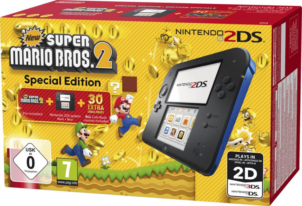 Nintendo 2DS schwarz/blau inkl. New Super Mario Bros. 2 für 64,99€ + Cashback & Punkte (Rakuten/Masterpass)