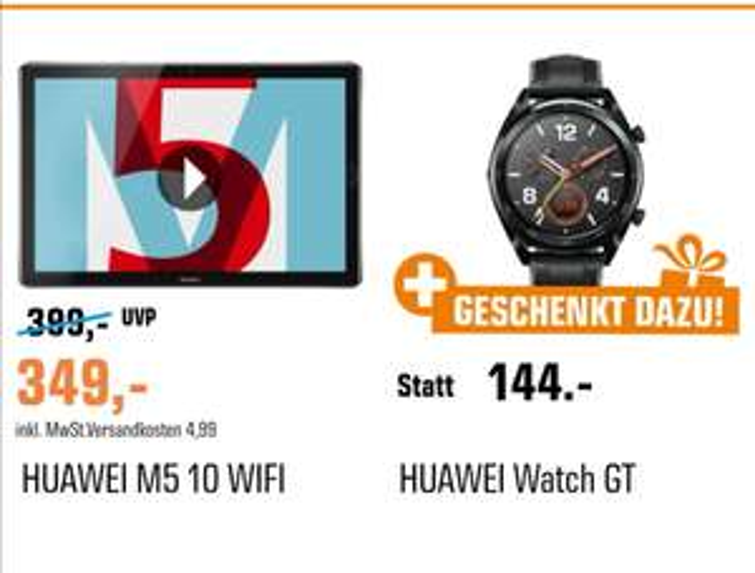 Huawei MediaPad M5 Space Gray 32 GB & Huawei Watch GT für 349€ WiFi oder für 399€ LTE