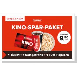 [Lokal] Cineplex Kino-Spar-Paket  (2D-Ticket + 0.5L Softgetränk + kleine Popcorn, gültig vom 8.8.19 - 4.9.19)