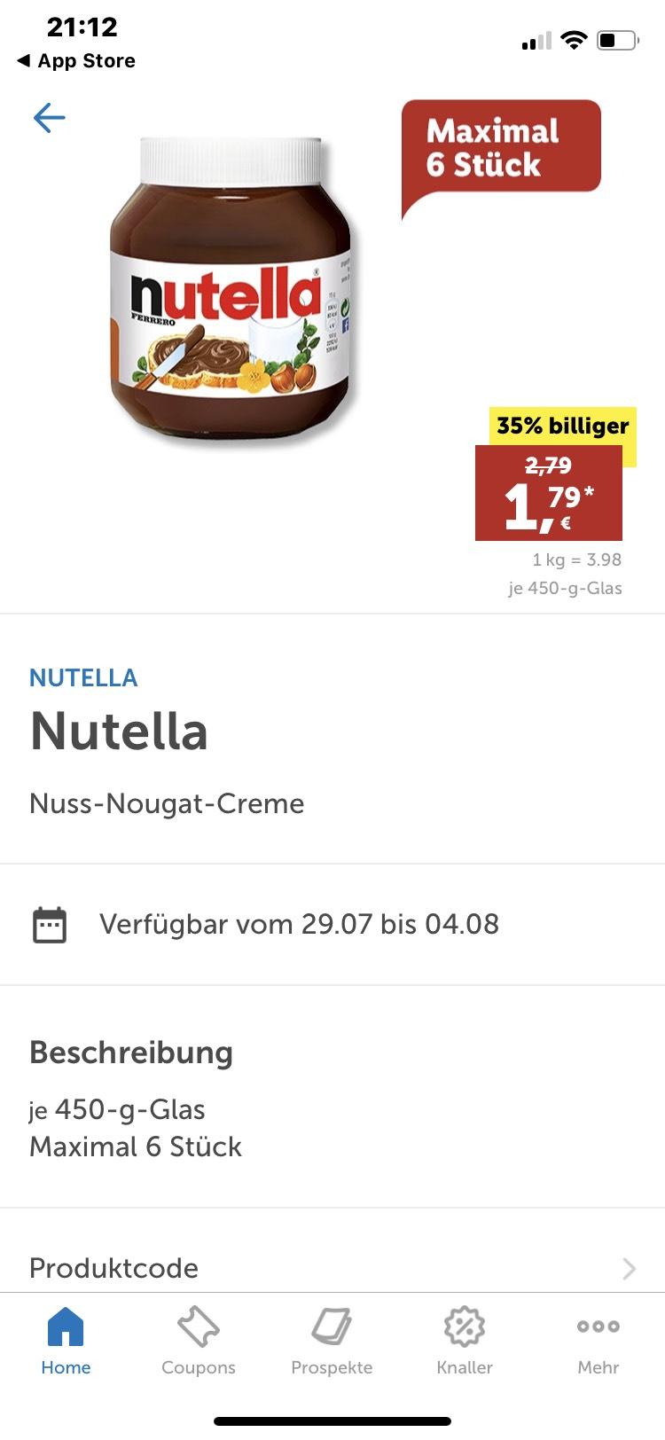 Nutella 450gr bei Lidl in der App - mydealz de