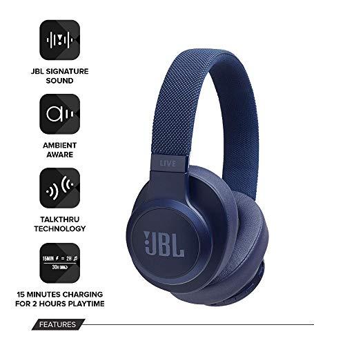 JBL Live 500BT Over Ear Kopfhörer in blau [Amazon] aktuelles Modell mit AmbientAware und TalkThru Funktion