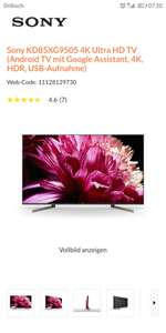 (LOKAL Schwabach) Sony KD85XG9505 4K Ultra HD TV (Android TV mit Google Assistant, 4K, HDR, USB-Aufnahme)