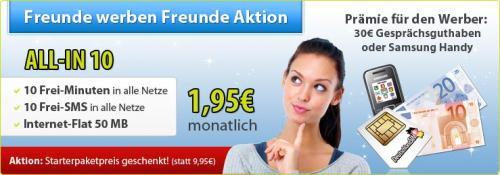 Deutschlandsim ALL-IN 10 für 1,95€ monatlich