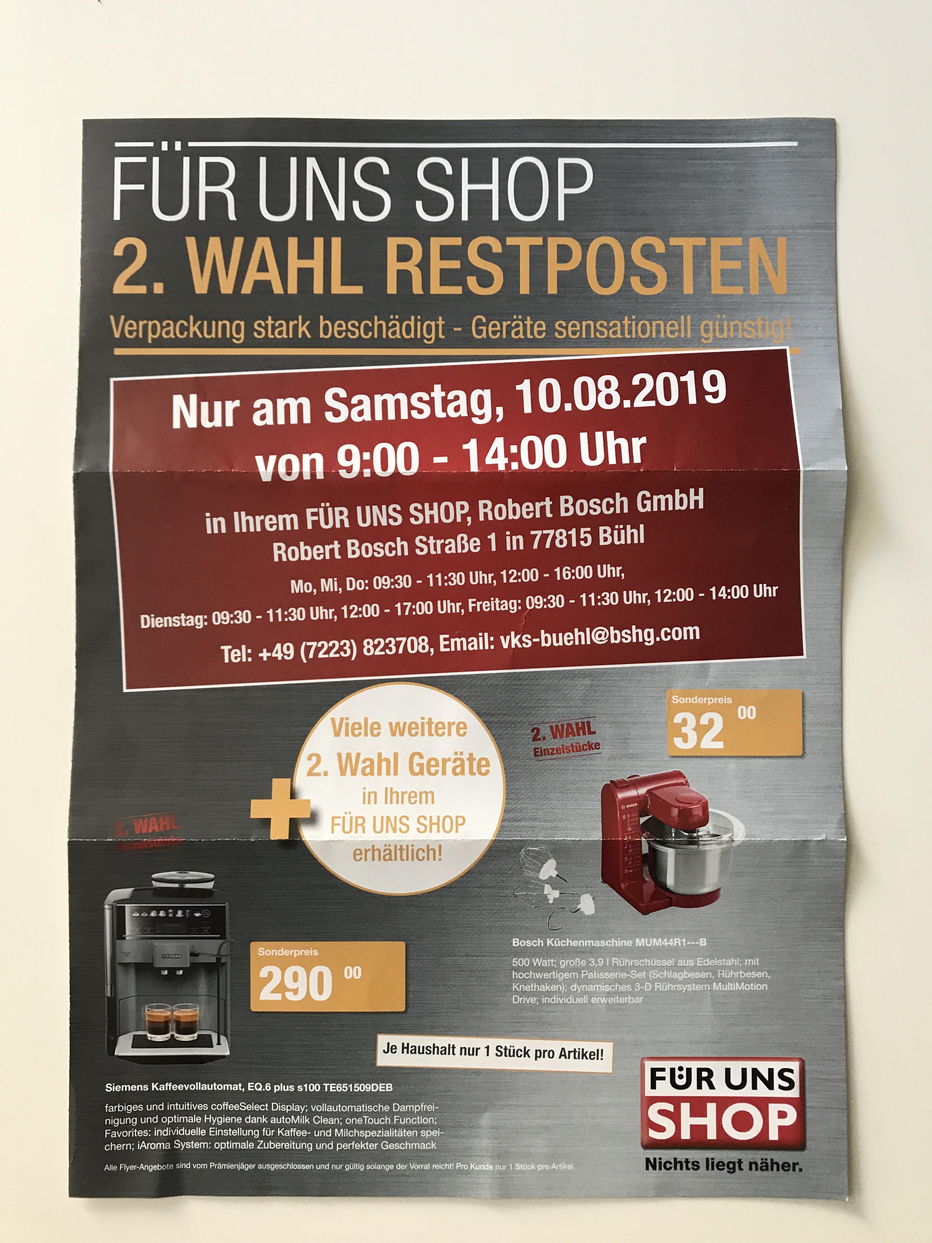 [Lokal Bühl] Für uns Shop Sonderverkauf 2. Wahl (Bosch und Siemens - Sammeldeal)