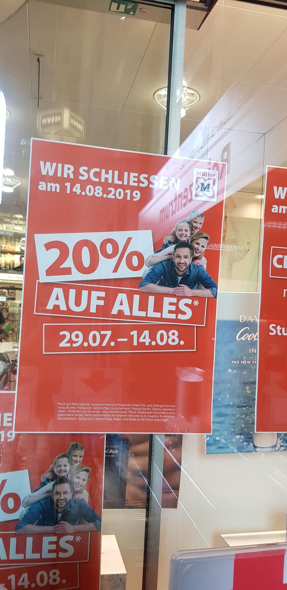 [LOKAL STUTTGART] 20% auf alles in Müller am Hauptbahnhof (Schließung am 14.08.19)