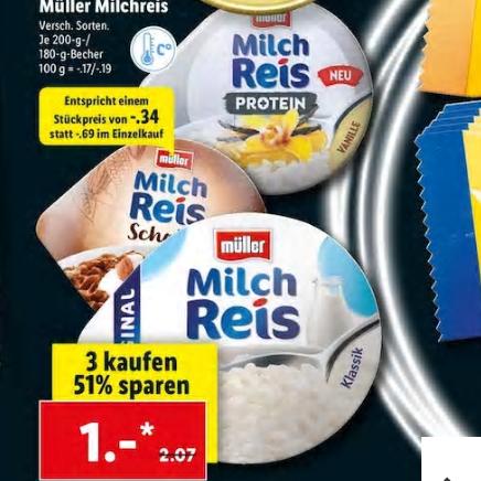 Müller Milchreis PROTEIN [Lidl] 3 St. für 1 €