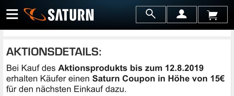 Saturn: 15,- Wertcoupon (Mindesteinkauf 15,01) bei Kauf von Aktionsprodukten