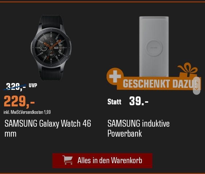 Galaxy Watch 46 mm Bluetooth + induktive Powerbank Samsung 229€ / 46 mm LTE 319€ / 42 mm BT 229€