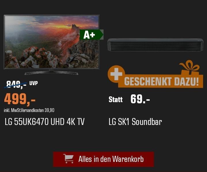 LG 55UK6470 4K TV+ LG SK1 Soundbar für 499€ [Saturn.de]