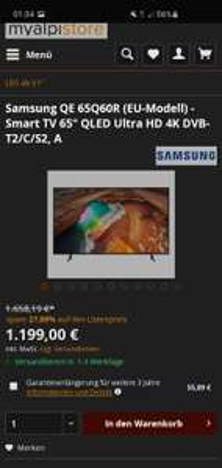 "Samsung QE65Q60R (EU-Modell) Q60 Serie 2019 Modell - Smart TV 65"" QLED Ultra HD 4K DVB-T2/C/S2, A"