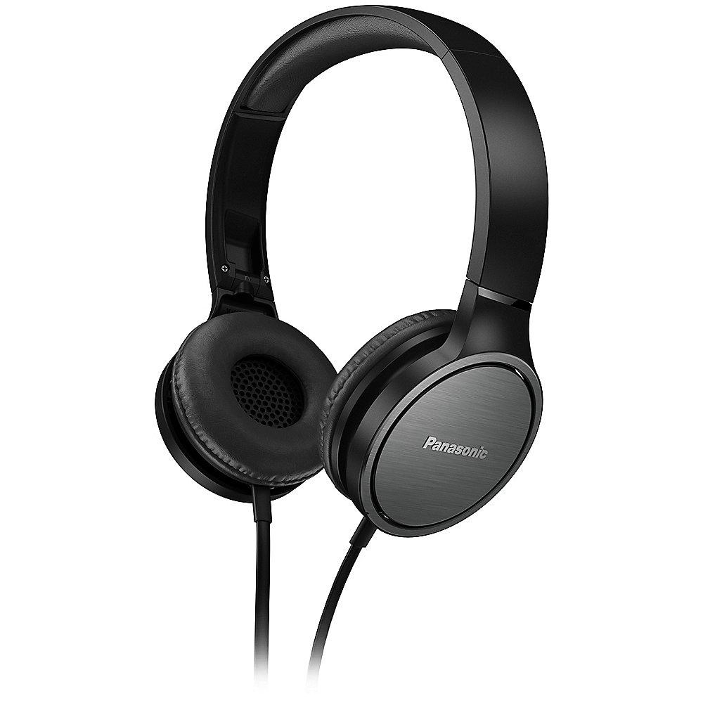 Kopfhörer Panasonic RP-HF500M (On-Ear, geschlossen, 25Ω Impedanz, 40mm-Treiber, Kabelmikrofon, Klinkenstecker, 1-Tasten-Fernbedienung, 144g)