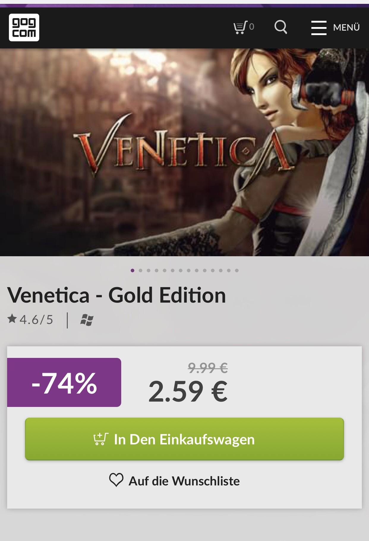 Venetica (Gold Edition) für 2,59€