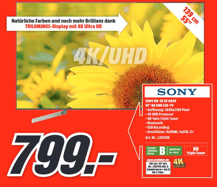 "[Lokal: Media Märkte Düsseldorf] Sony KD-55XF9005 - 55"" 4K Smart TV (120 Hz, VA, Direct LED, 10bit)"