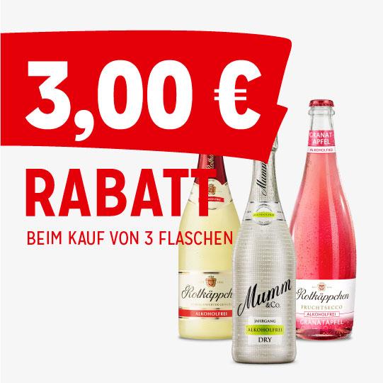 3,00€ Rabatt Coupon für Rotkäppchen Alkoholfrei, Rotkäppchen Fruchtsecco Alkoholfrei & Mumm Alkoholfrei Produkte