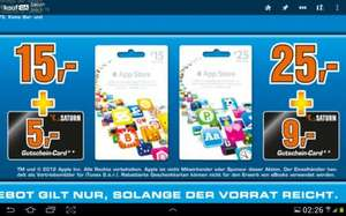 Saturn Apple App Store Karten kaufen und Saturn Gutschein dazu. 15€+5€ und 25€+9€
