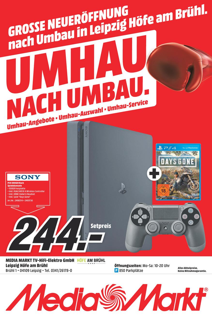 (MediaMarkt Leipzig Höfe am Brühl nur am 31.07.) PS4 500 GB schwarz + Days Gone