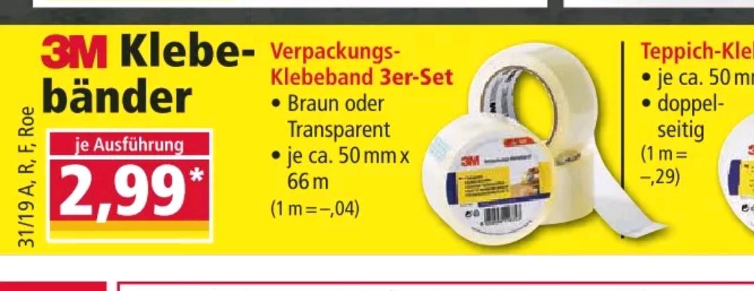 3M Verpackungs-klebeband 3er Set - auch weitere 3M Klebebänder für 2,99€ (NORMA)