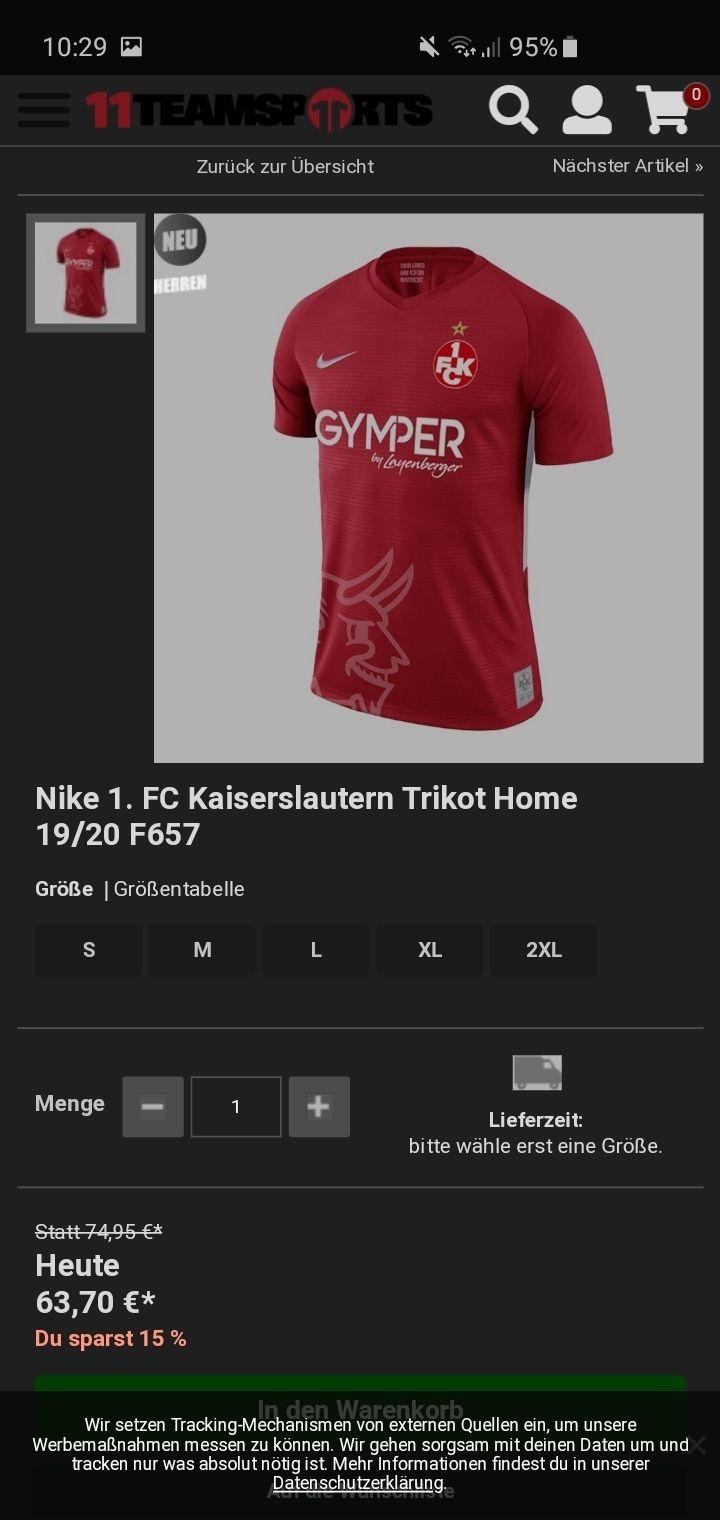 Nike 1. FC Kaiserslautern Trikot Home 19/20  S/L/M/L/XL FCK