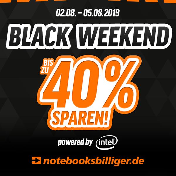 Black Weekend bei Notebooksbilliger vom 02.08. bis zum 05.08. - z.B. Notebooks, Monitore, Netzwerk, Speichermedien, Hardware, Beamer uvm.
