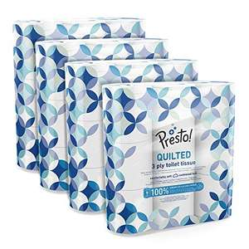 [Prime] Amazon-Marke: Presto! 3-lagiges gestepptes Toilettenpapier, 36 Rollen (4 x 9 x 200 Blätter)- Muster: Edelstein