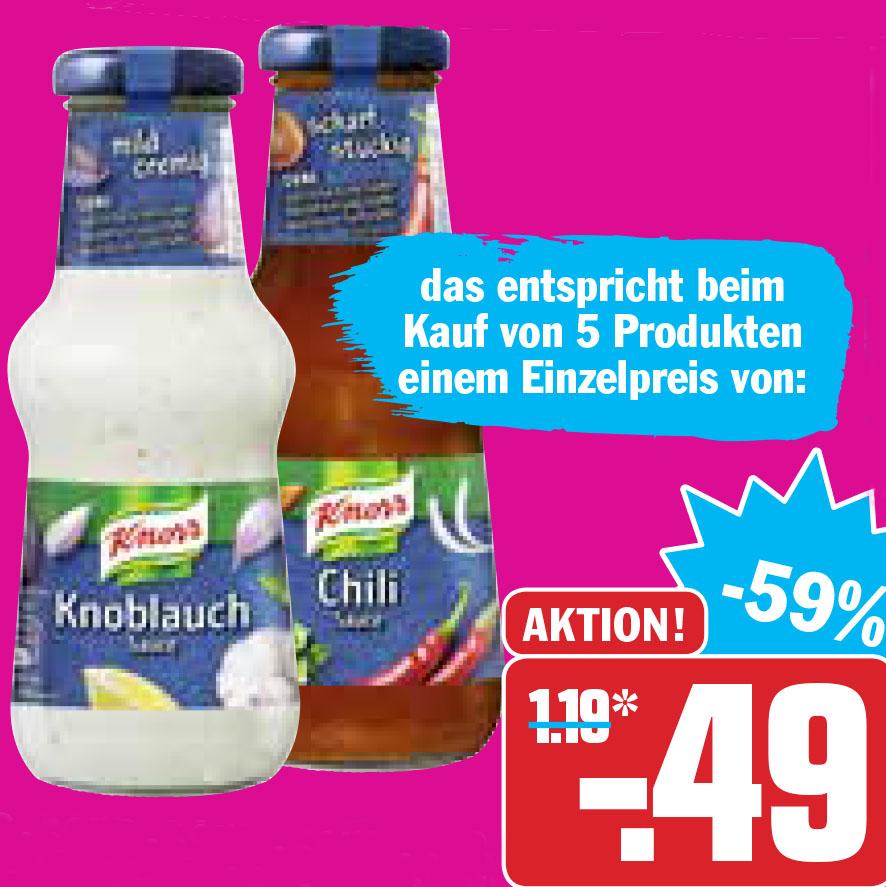 Knorr Schlemmersaucen, ab 5 Flaschen zum Bestpreis für nur 49 Cent bei (HIT)