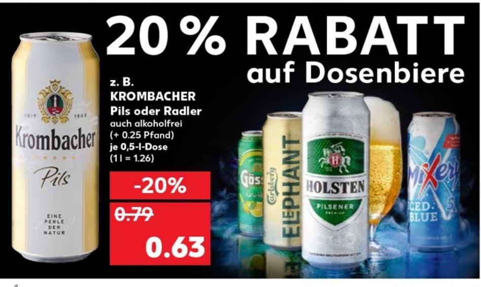 20% auf alle Dosenbiere bei Kaufland 01.-07.08.19 - z.B. Gösser Natur Radler in der 0,5l Dose 0,79€ / 5.0 Dosenbier 0,39€