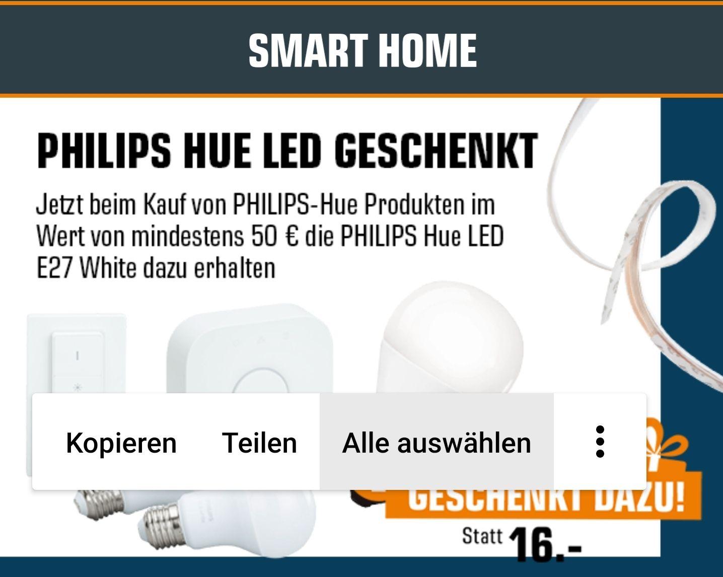 Philips-Hue LED E27 geschenkt beim Kauf von Philips Hue Artikel ab 50€