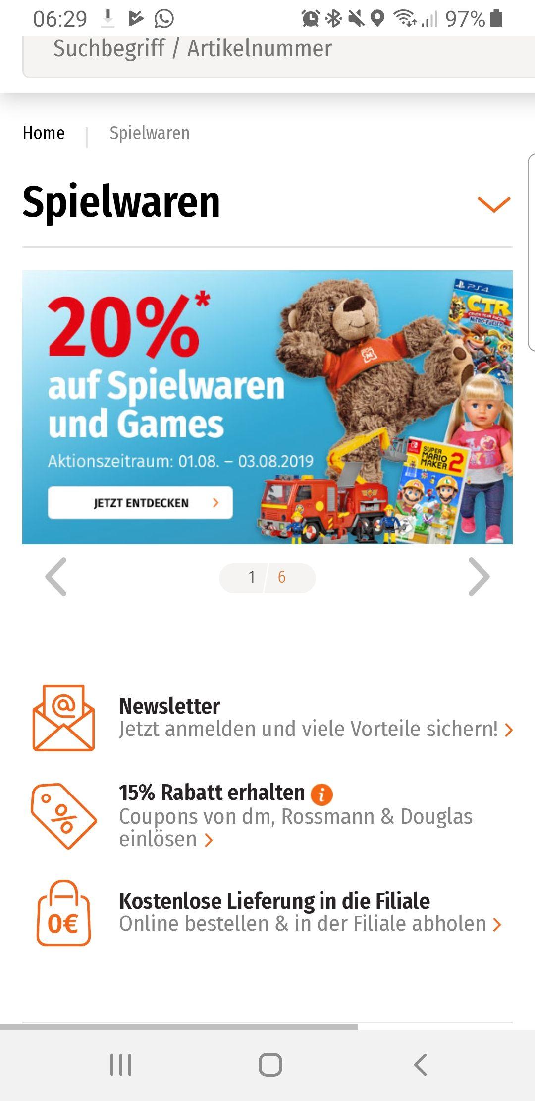 [Müller] 20 % auf alle Spielwaren und Games