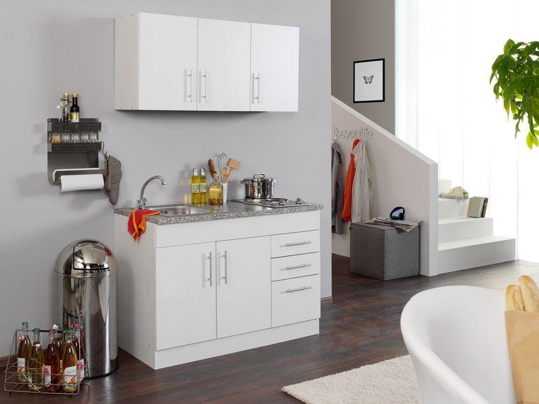 Single-Küchen bei Lidl: z.B. HELD Toronto 120 (2 Hängeschränke à 40cm & 80cm, Spülenschrank 120cm, Spülbecken, 2er-Kochmulde)