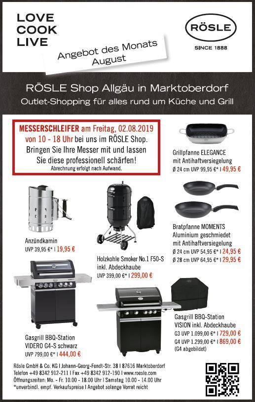 [Rösle Werksverkauf Marktoberdorf]Rösle Videro G4-S Schwarz mit 800° Primezone  sowie weitere Produke z.b. Gasgrill Vision inkl. Abdeckhaube