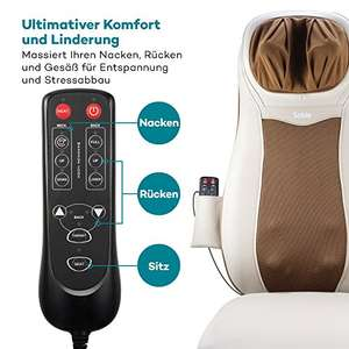Sable Massagesitzauflage Rücken Nacken Massagegerät - zur Entspannung der Rücken- und Schultermuskulatur Shiatsu mit Wärmefunktion