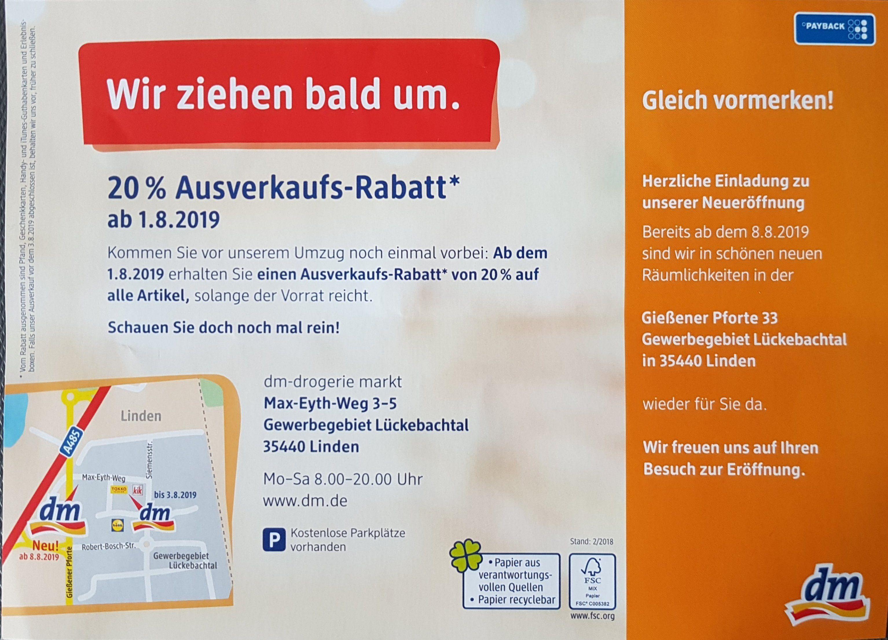 Lokal Linden (Landkreis Gießen) DM-Drogerie Markt 20% Ausverkaufs-Rabatt ab 01.08.