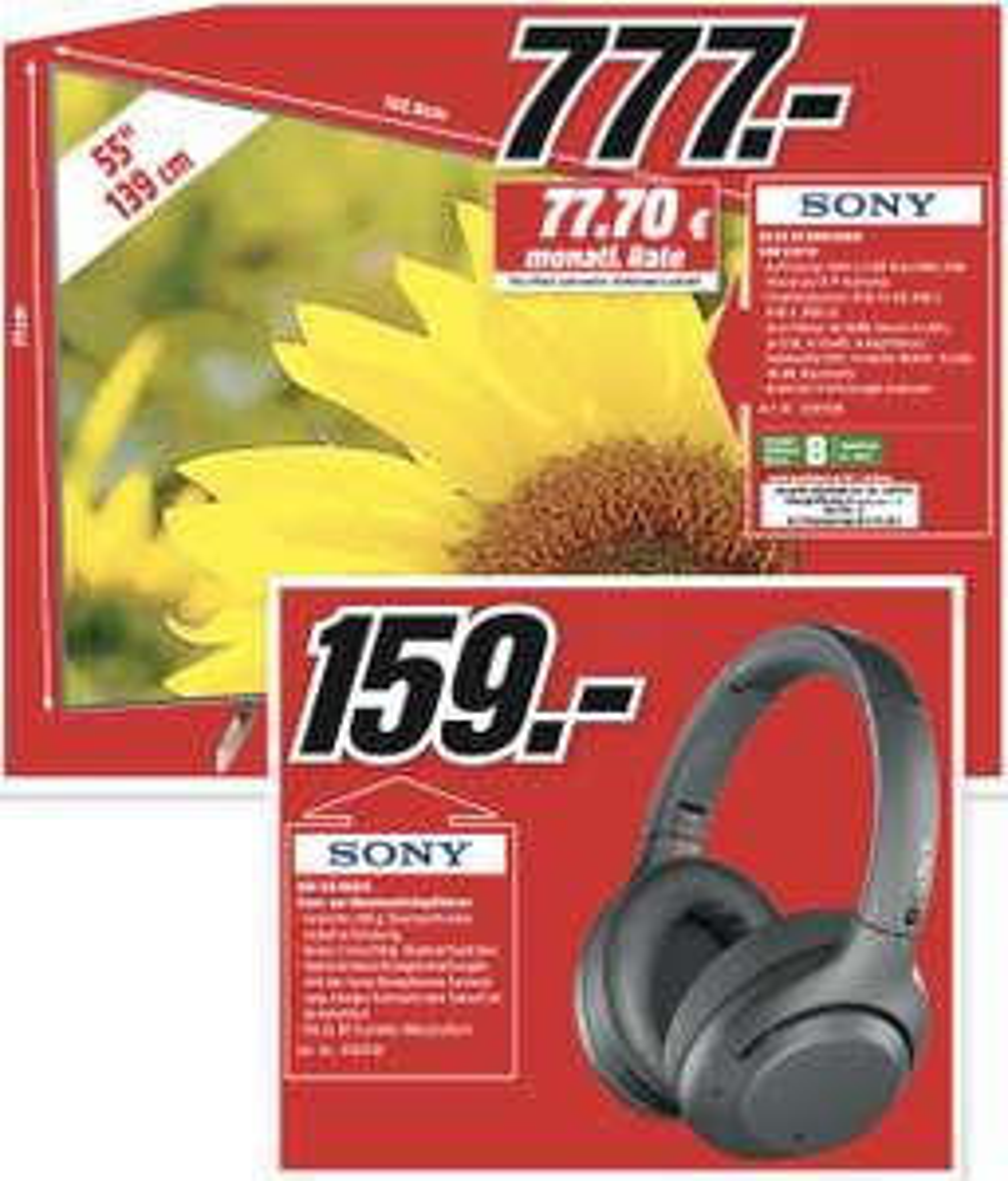 Lokal MediaMarkt Frankfurt-NWZ: Sony KD-55XF9005 139cm 4K UHD TV für 777€ oder Sony WH-XB900N NEUHEIT Noise Cancelling Kopfhörer für 159€