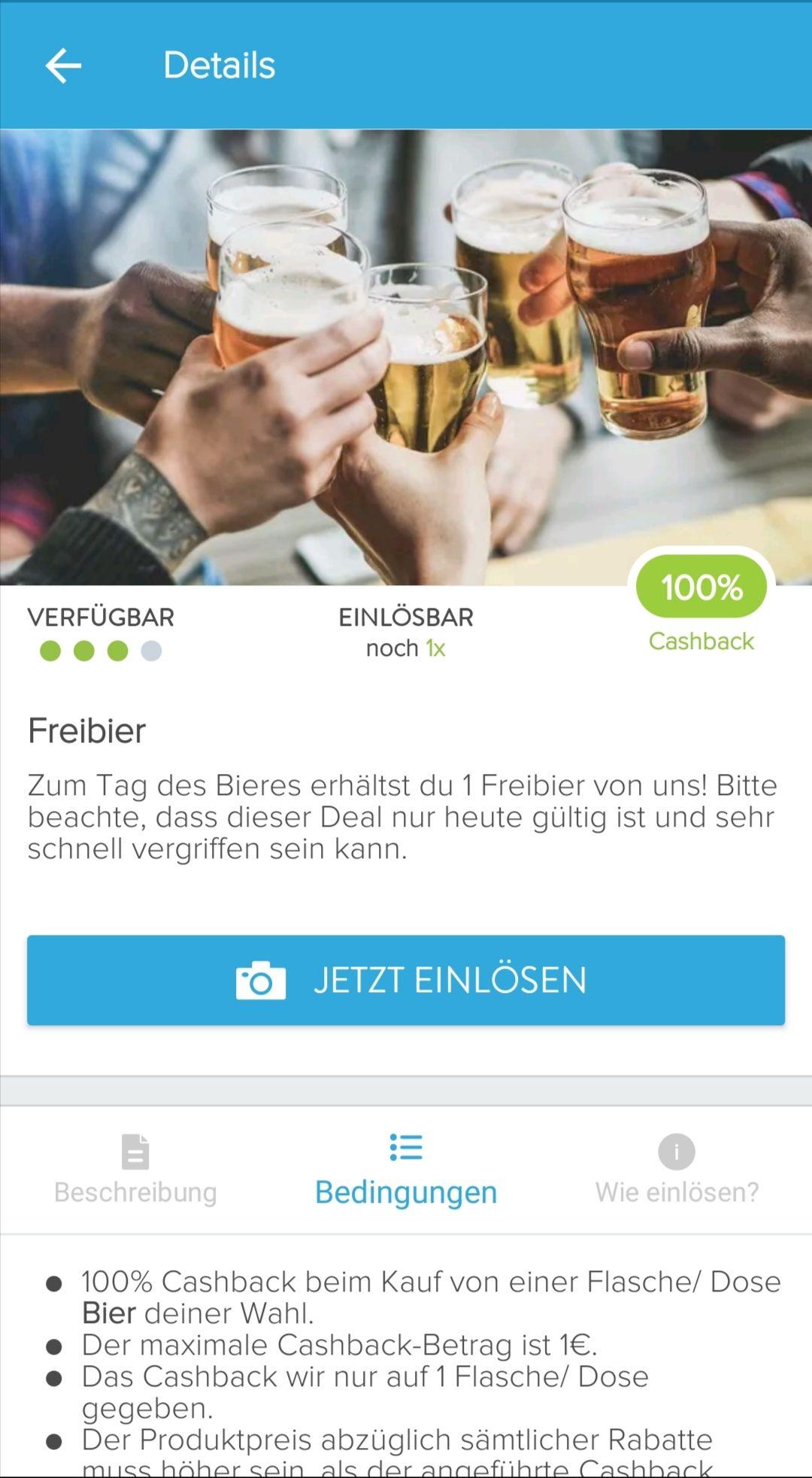 Freibier! 100% Cashback auf Bier nach Wahl via [ Marktguru]