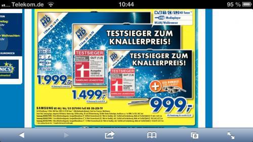 Lokal Samsung UE40ES7090 für 999.- Euronics XXL Pfullendorf