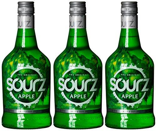 3 x Sourz Apple Likör Flasche 0,7l für Apfel-Shots  [Amazon Prime]